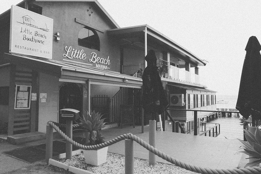 port stephens little beach boathouse BW