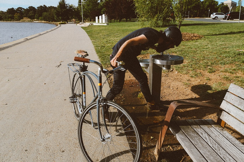 Lake Burley Griffin Canberra bike riding bubbler