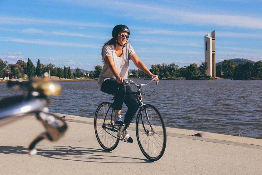 Lake Burley Griffin Canberra bike riding Katie Mayor