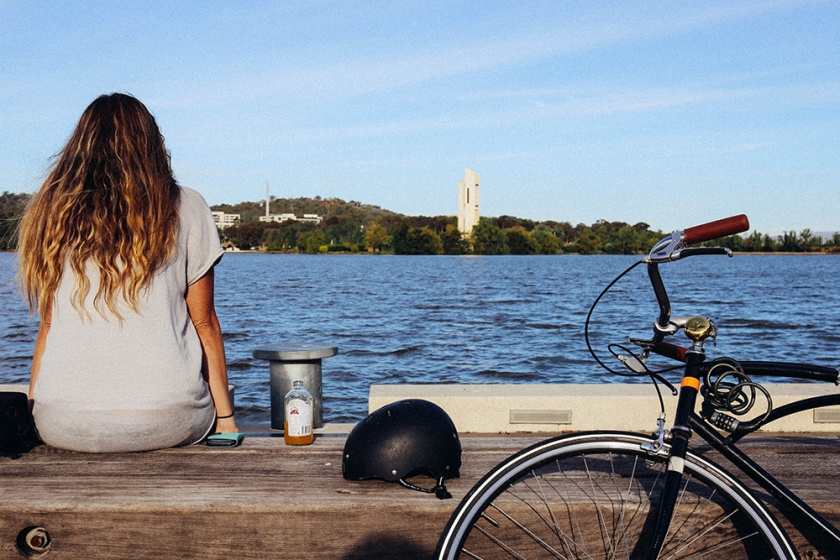 Lake Burley Griffin Canberra bikes katie mayor