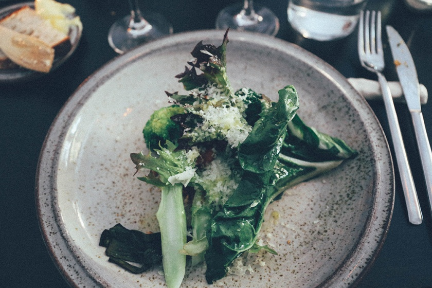 Stockholm Gro Restaurant Vegetarian broccoli almond chard