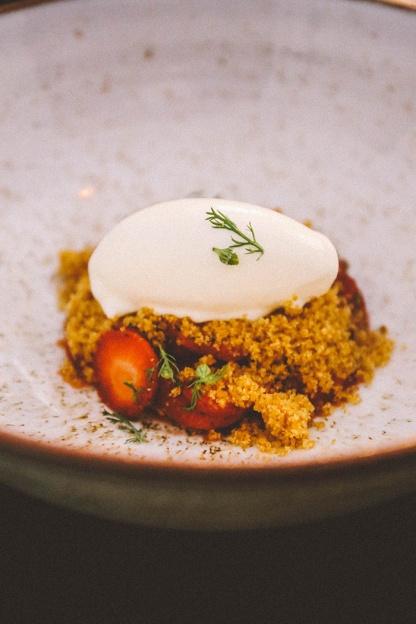 Stockholm Gro Restaurant Vegetarian strawberries sour cream chamomile