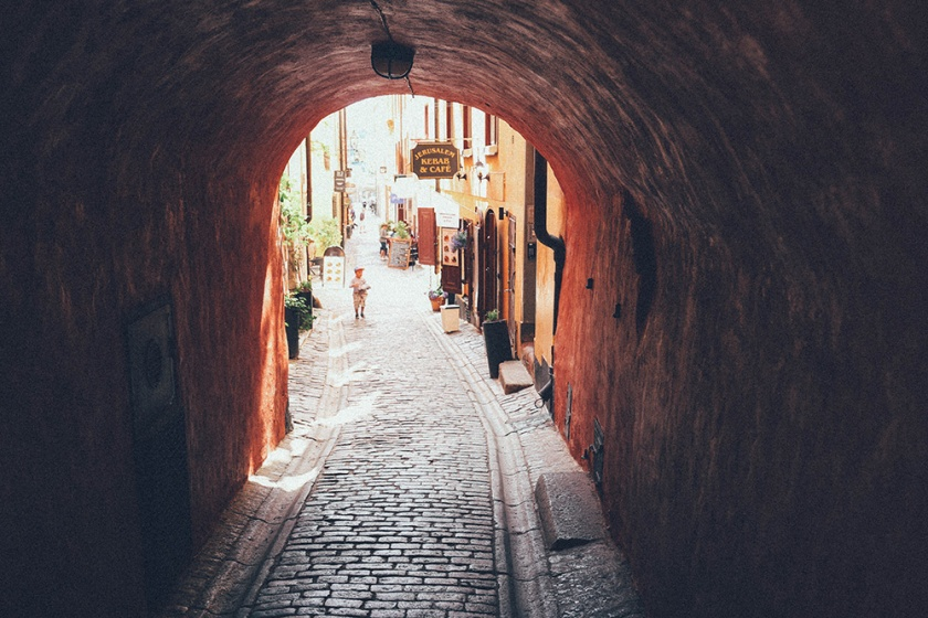 Stockholm Old Town archway Gamla Stan