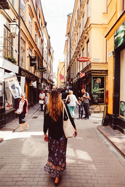 Stockholm Old Town Katie Mayor walking