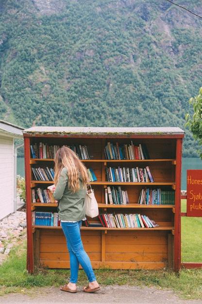 Fjaerland Norway book Town Katie Book Bus Stop