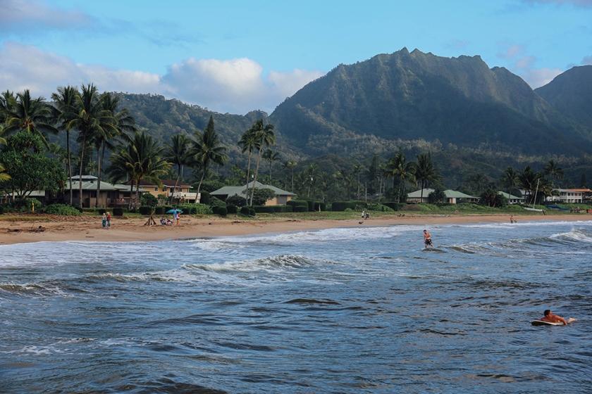 Kauai Hawaii Hanalei Bay surfers 2
