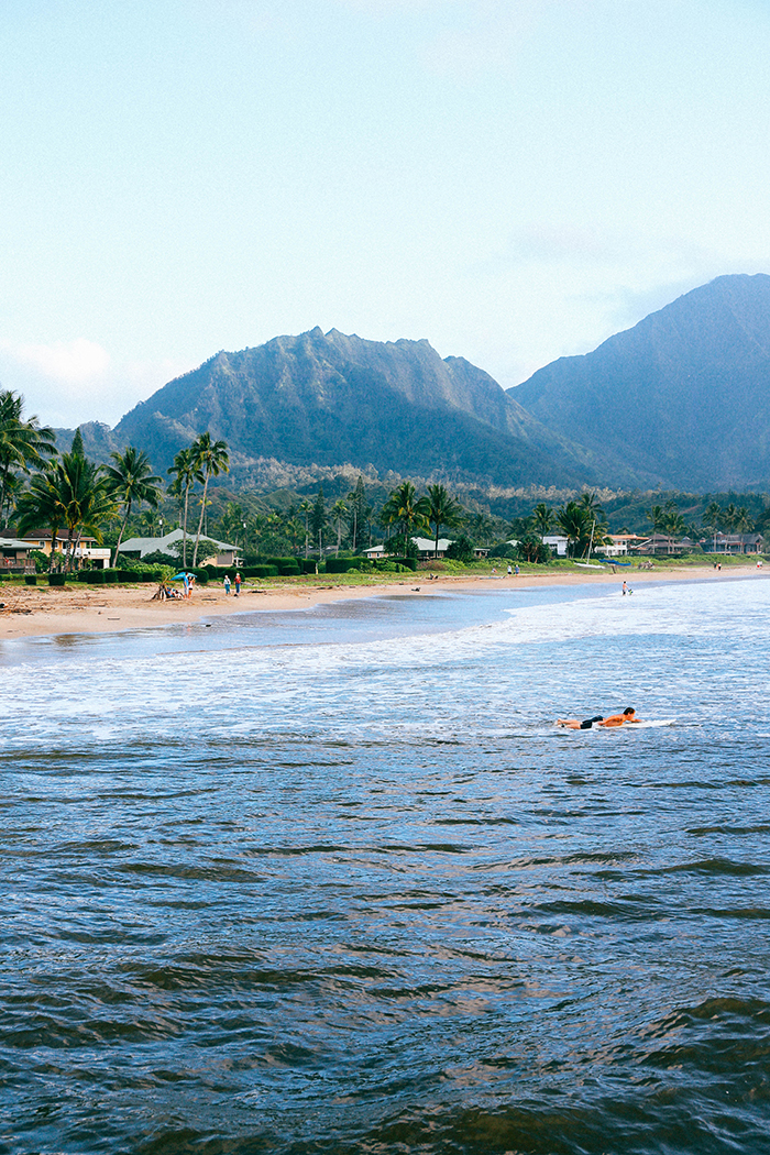 Kauai Hawaii Hanalei Bay surfers