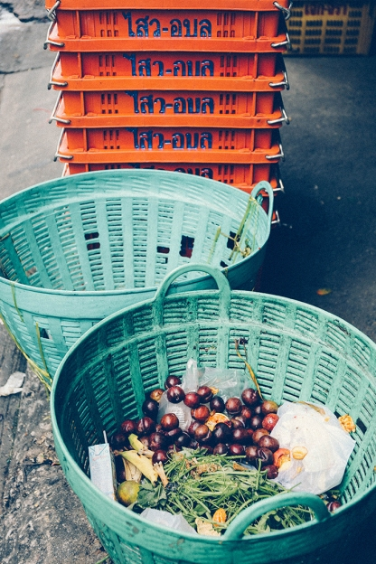 Bangkok thailand backstreets fruit baskets