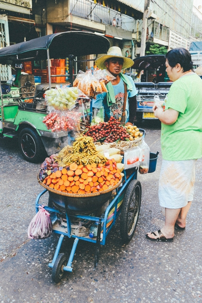 Bangkok thailand backstreets vegetable cart
