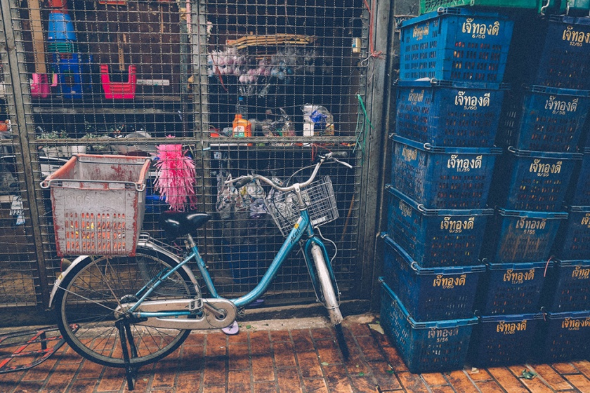 Bangkok thailand flower markets bike