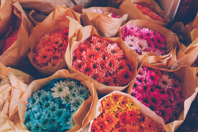 Bangkok thailand flower markets bunches