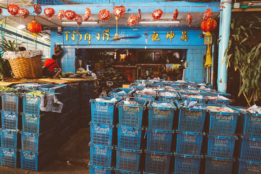 Bangkok thailand flower markets fish shop 2
