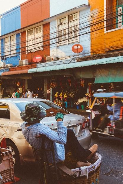 Bangkok thailand flower markets man basket seat