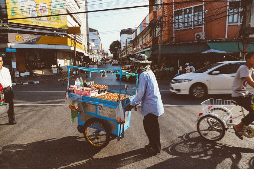 Bangkok thailand flower markets street cart