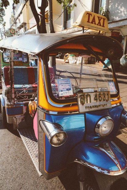 Bangkok thailand flower markets tuk tuk