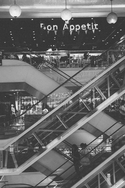 Bangkok thailand siam square escalators_