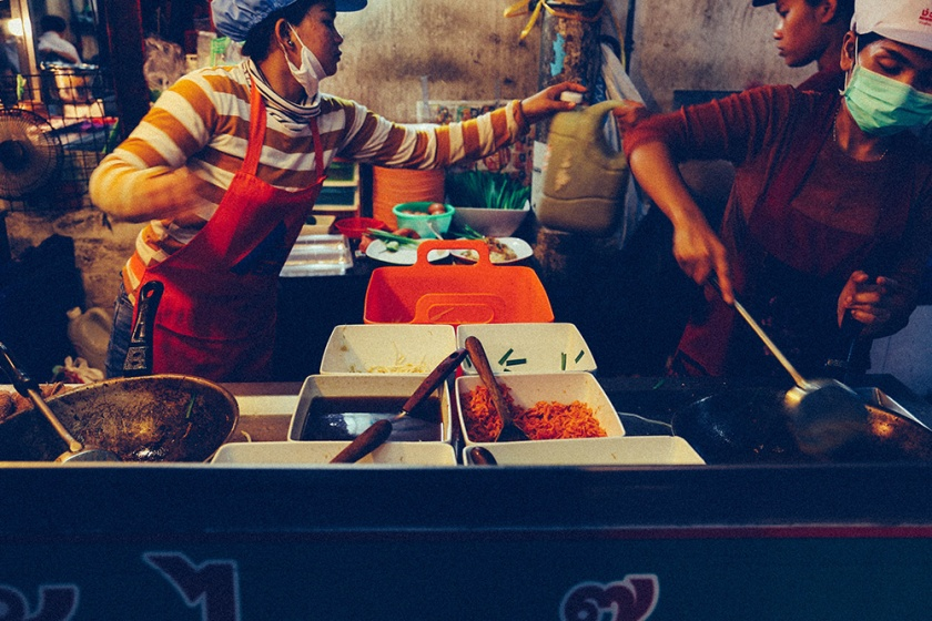 Bangkok thailand street food kitchen staff 2