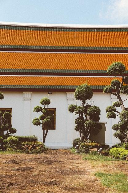 Bangkok wat arun thailand temple hedge trees
